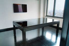 Pool And Dining Table Sleek Black Dining Room Pool Table Faced Off Wall Mounted