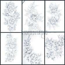 тату бедро цветы эскиз Sketch тату татуировки и тату девушки