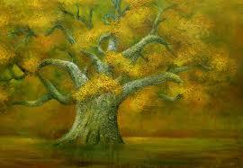 eeuwenoude eik kust bij malibu weer en wind trotserend watercolour oilpainting mixed