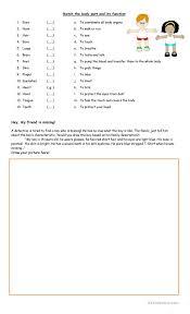 Body Parts Function Matching Activity English Esl Worksheets
