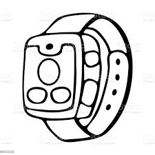 Fitness Izci Akıllı Saat Karikatür Doodle Vektör Tarzı Modern Şık  Giyilebilir Cihaz Yalıtılmış Anahat Çizimi Stok Vektör Sanatı & Akıllı Saat'nin  Daha Fazla Görseli - iStock