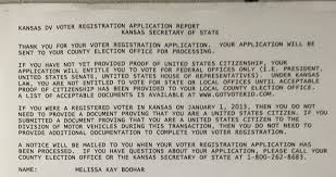 the receipt melissa boohar received on oct 15 2016 when she submitted her voter registration application at the dmv in olathe
