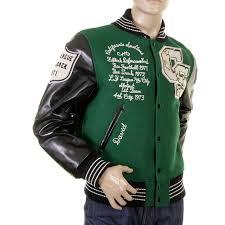 whitesville dark green with black leather sleeve wv12310 regular fit varsity jacket whit1092