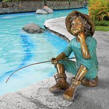 children garden statues. Fish Wish Fisherboy Cast Bronze Garden Statue Children Statues