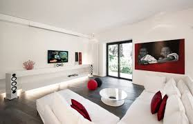 Red White Modern Minimalist Living Room Interior Design Ideas Classy White Modern Living Room Ideas