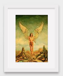male office decor. Arizona Angel - Oil Painting, Fine Art Signed Print, Color, Canvas, Male, Figurative, Portrait, Artwork, Home, Office, Decor, Wall Male Office Decor
