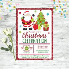 Printable Christmas Gift Certificates Templates Free Best Christmas Invitation Santa Invitation Christmas Party Etsy
