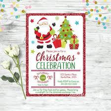 Printable Christmas Gift Certificates Templates Free Best Christmas Invitation Santa Invitation Christmas Party Etsy