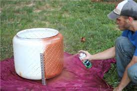 Spray With Heat And Rust Resistant Paint Fire Pit From Washing Machine Innards Diy Metal Fire Pit Fire Pit Essentials Diy Fire Pit