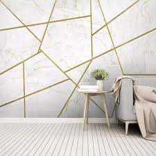 Wallpaper 3D White Marble Texture Gold ...