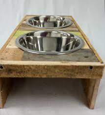 reclaimed wood dog bowl stand aftcra regarding wooden plan 5