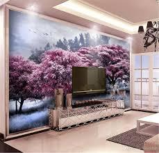 Benutzerdefinierte Fototapete 3d Schöne Rosa Wald Baum Elch Landschaft Wohnzimmer Schlafzimmer Hintergrund Wand Dekoration Tapete