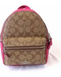 NEW COACH (F38315) KHAKI PINK MINI CHARLIE SIGNATURE LEATHER BACKPACK BAG