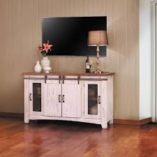 60 inch wide pueblo white barn door tv stand