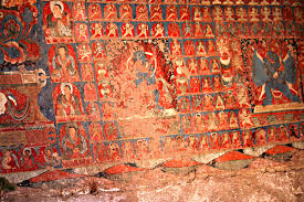 saspol caves paintings of buddhist pantheon india