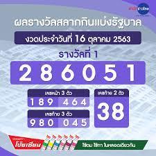 ผลรางวัลสลากกินแบ่งรัฐบาล งวดวันที่ 16 ตุลาคม 2563 - สำนักข่าวไทย อสมท