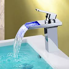 New Modern LED RGB Waterfall Chromed Single Lever No Battery Mixer