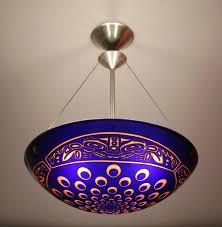 blue seamonster carved hemisphere george c scott seattle wa swedish mid century modern wood and art glass pendant chandelier for
