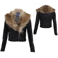 women s crop synthetic leather detachable faux fur collar las biker jacket