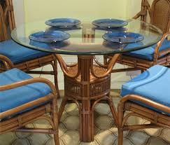 42 round table. Pole Rattan 42 Round Dining Table With Glass Top - TEAWASH