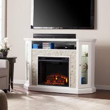 living room with electric fireplace and tv. W Corner Convertible Media Electric Fireplace In White Living Room With And Tv