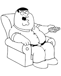 Small Picture Peter Using TV Remote In Family Guy Coloring Page Peter Griffin