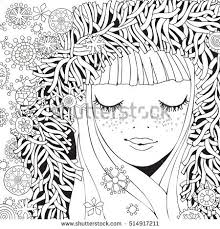 Girl In A Knitted Fluffy Hood Pattern For Coloring Book Winter