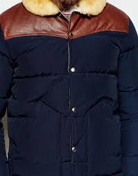 lyst penfield shower proof rockwool down fill jacket with leather yoke in blue for men
