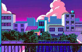 Wallpaper city, anime, 8-bit images for ...