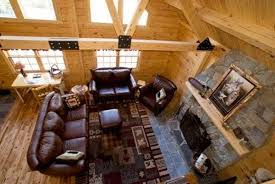 retrieve log cabin decorating ideas with framed art and leather furniture and area rug picture