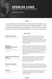Research Consultant Resume samples - VisualCV resume samples database