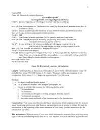 English 101 Essay 4 Rhetorical Analysisimitation Revised Due Dates
