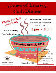 chili supper flyer house of lazarus chili dinner fundraiser my kemptville now