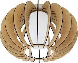 Eglo Deckenleuchte Stellato 1 Holz Glas Ahorn Weiss 1x60w H275 ø 40cm