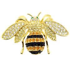 Bee Designs Malta Il Fantasyard Black And Golden Bee Swarovski Crystal Pin Bug Pin Brooch