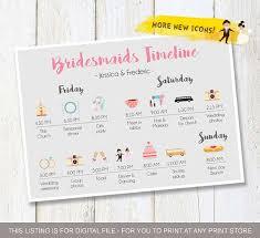 Wedding Timeline Beauteous Wedding Timeline Custom Bridesmaids Timeline Program Etsy