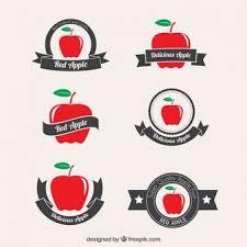 apple logo white vector. red apple badges logo white vector