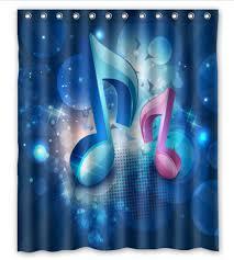 Free Shipping Blue Music Note Custom Shower Curtain Home Decor Waterproof  Fabric Fashion Bath Curtain #