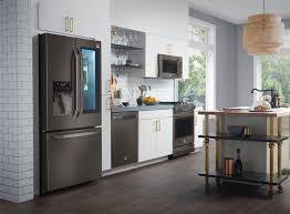The premium LG Studio suite of kitchen appliances is offered in a black  stainless steel finish