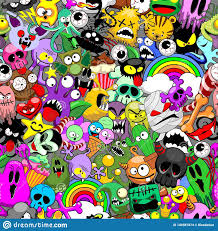 All Free Download Vector Design Monsters Doodles Characters Saga Seamless Repeat Pattern
