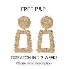Zara Golden Raised Design Earrings Non Branded Raised Design Earrings In Gold Look Depop