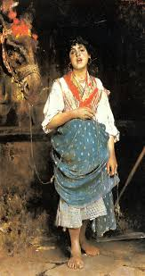 a peasant girl with a horse gaetano esposito oil painting