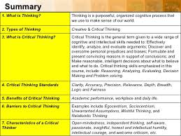 Critical Thinking University    This is great chart on critical thinking  It gives you a break down of critical