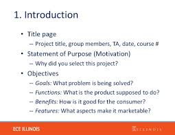 project proposal ece lecture jan the project proposal 4 1 introduction title page project