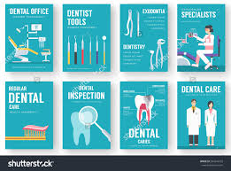 dental office interior information cards set stock vector dental office interior information cards set hygiene template of flyear magazines posters