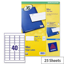 avery sheet labels avery j8654 25 mini labels inkjet 40 per sheet 45 7 x 25 4mm white 1000 labels