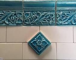 set of four ceramic handmade bas relief