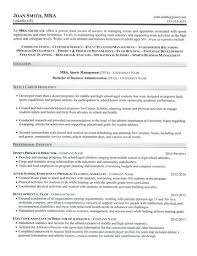 MBA Graduate Resume Sample
