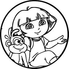 Small Picture Dora Cartoon Monkey Oval Sweet Cute Coloring Page Wecoloringpage