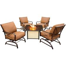 bradford 5 piece all weather patio conversation set and cast top fire pit